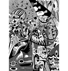 Black and white Abstract Line art with doodle and vector image