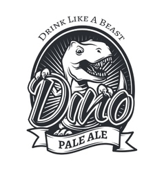 Dinosaur craft beer brewery logo concept t vector