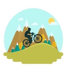 Female mountain bike rider vector image