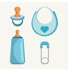 Pacifier bottle and baby bib design vector image