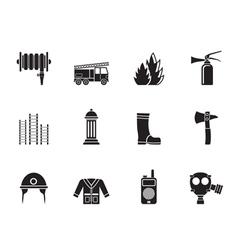 Silhouette fire-brigade and fireman equipment icon vector