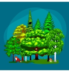 Summer Green Forest Tree and small animals in wild vector image vector image