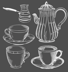 vintage tea and coffee set hand drawn vector image