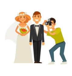wedding photographer and couple bride and groom vector image vector image