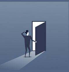 Business man standing at door entrance businessman vector