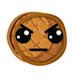 kawaii cute angry waffles with honey vector image