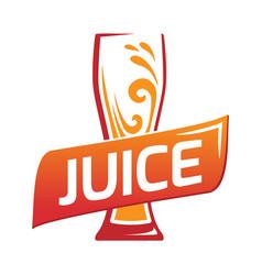 one glasses with orange juice vector image