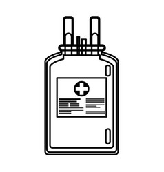 Plastic bag blood donate health care line vector