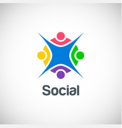 social group colorful happy logo vector image vector image