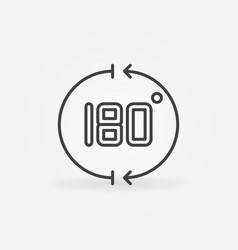 180 degrees angle outline concept icon vector