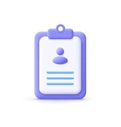 3d cartoon style minimal cv resume icon job vector image