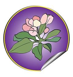 apple flower sticker violet vector image