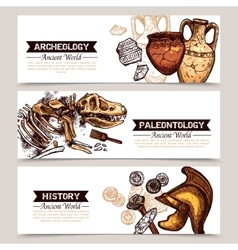 Archeology Horizontal Sketch Colored Banners vector