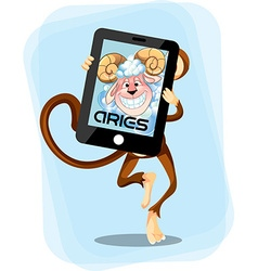 Aries Monkey horoscope vector