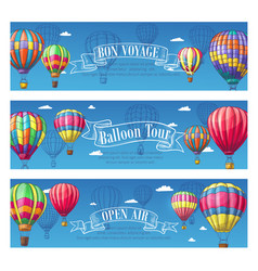 Banners for hot air balloon travel voyage vector