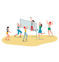 beach volleyball womens team players flat vector image