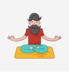 Bearded man in meditation vector image