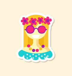 beautiful hippie girl cute sticker in bright vector image