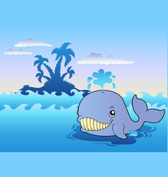 big cartoon whale in sea vector image