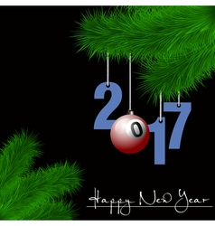 Billiard ball and 2017 on a Christmas tree branch vector