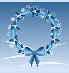 Blue christmas wreath vector