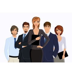 Busies woman with business team vector