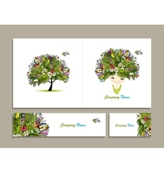 Business cards tropical girl for your design vector image