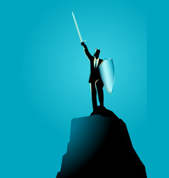 Businessman raising a sword and shield on top vector