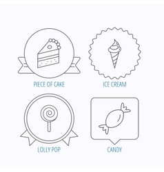 Cake candy and ice cream icons vector image