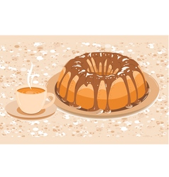 cake with glaze and a cup hot drink vector image