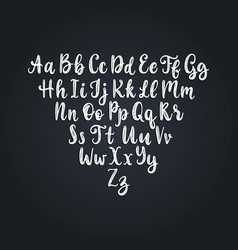 Calligraphic straight font letters on black vector