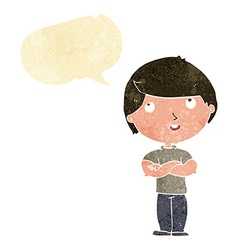 Cartoon happy man with folded arm with speech vector