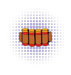 Cartridges hunting ammunition icon comics style vector