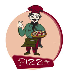 Chef pizza banner logo vector