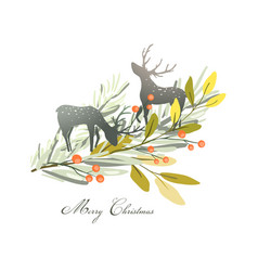 christmas deers or reindeer silhouettes with vector image