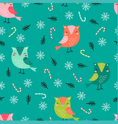 Christmas pattern funny owls vector
