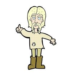 Comic cartoon hippie man giving thumbs up symbol vector