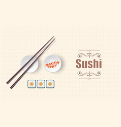 concept design of the invitation sushi restaurant vector image