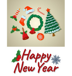 concept happy new year card isolated icon cartoon vector image