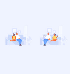 Couple together and separately vector