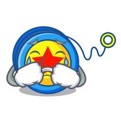 Crying yoyo mascot cartoon style vector