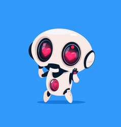 cute robot with heart shape eyes isolated icon on vector image