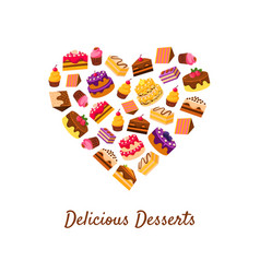 delicious desserts banner template tasty sweets vector image