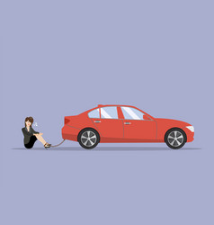 Desperate business woman with car debt burden vector