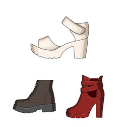 Different shoes cartoon icons in set collection vector