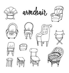 Doodle and chairs vector