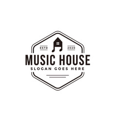 emblem seal badge music house logo template vector image
