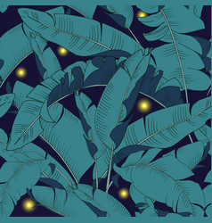 Fireflies among night foliage vector