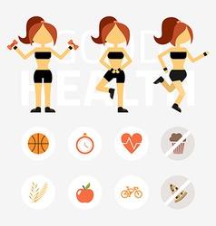 Fitness woman sport equipment caring figure vector