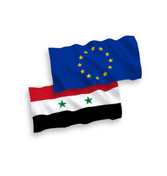 flags of syria and european union on a white vector image